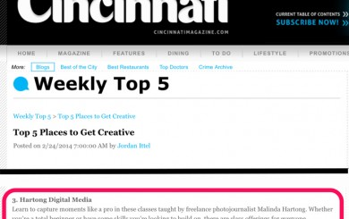 Cincinnati Magazine Top 5 Places to Get Creative