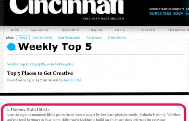 Cincinnati Magazine Top 5 Places to Get Creative