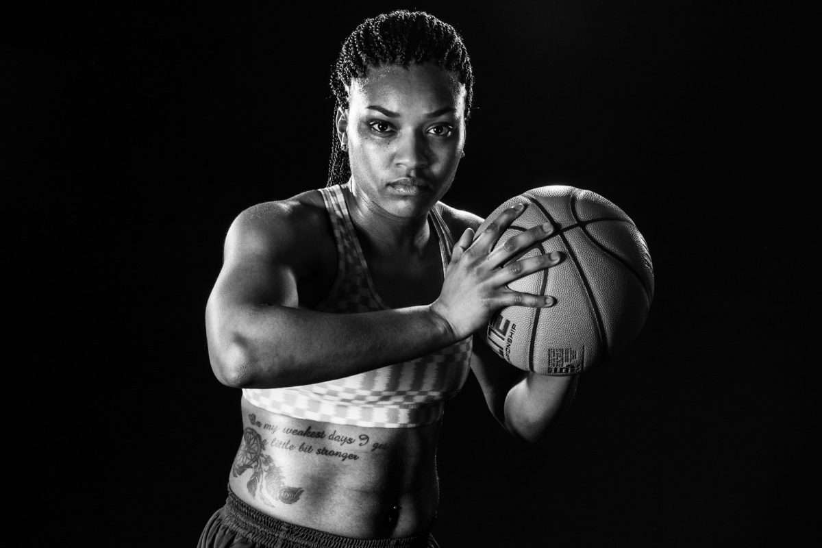 portrait of a girl college basketball player studio on location in black and white with 5 lights