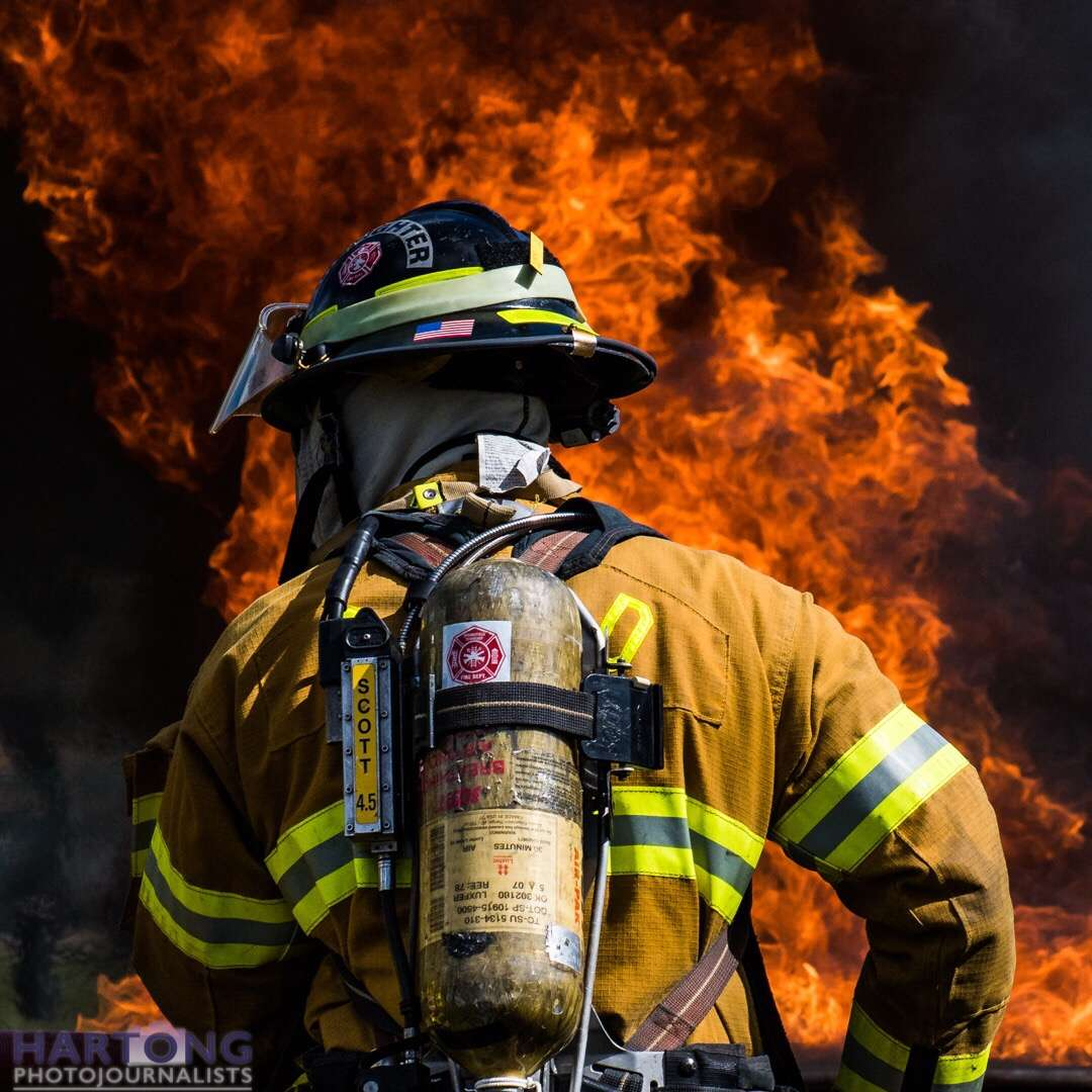 firefighter demonstration with heavy flames